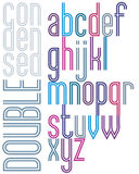 Poster retro double striped font, bright condensed lowercase let Royalty Free Stock Images