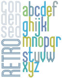 Poster retro font, colorful condensed lowercace letters Stock Images