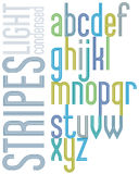 Poster retro font with triple stripes, bright condensed lowercas Royalty Free Stock Images