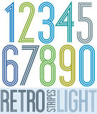 Poster retro light colorful numbers with stripes on white backgr Stock Image