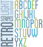 Poster retro light striped font, condensed uppercase letters on Royalty Free Stock Photography