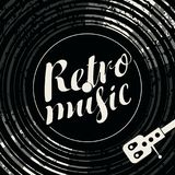 Poster retro music with vinyl record and player. Black and white vector poster for the retro music with vinyl record, record player and calligraphic inscription Stock Photo