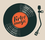 Poster retro music with vinyl record and player Stock Photos