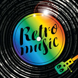 Poster retro music with vinyl record and player Royalty Free Stock Photos