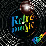 Poster for the retro music with vinyl record Stock Photography