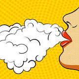 Poster retro pop art. She smokes. Royalty Free Stock Images