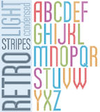 Poster retro striped font, bright condensed geometric uppercase. Letters on white background Royalty Free Stock Photos