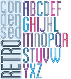 Poster retro striped font, bright condensed geometric uppercase Royalty Free Stock Photos