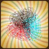 Poster in retro style with colored fingerprint Royalty Free Stock Photo