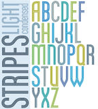 Poster retro triple striped font, condensed geometric uppercase. Letters on white background Stock Photo
