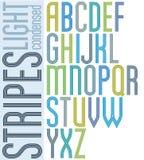 Poster retro triple striped font, condensed geometric uppercase Stock Photo