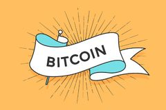 Poster with ribbon and word Bitcoin. Poster or banner with ribbon and word Bitcoin. White trendy ribbon banner in trendy style for greeting card or web banner on Stock Images
