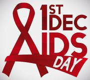 Red Ribbons and Date to Commemorate World AIDS Day, Vector Illustration. Poster with ribbons like letter A with glossy text and greeting sign for World AIDS Day Stock Photo
