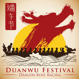 Poster with Rising Dragon in Brushstroke Style for Duanwu Festival, Vector Illustration. Dragon boat racing at sunset with a dragon surge to commemorate Duanwu Stock Images