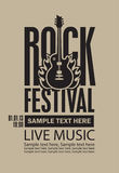 Poster for a rock festival with guitar on fire Stock Image