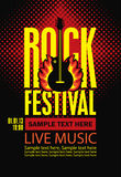 Poster for a rock festival with guitar on fire Royalty Free Stock Image