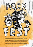 The poster for the rock festival of heavy music .   Royalty Free Stock Photography