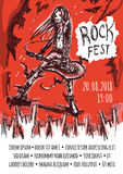 The poster for the rock festival of heavy music .. The poster for the rock festival of heavy metal music . A man with long hair playing the guitar. A crowd of Stock Images