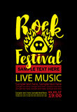 Poster for a rock festival with skull on fire Royalty Free Stock Images