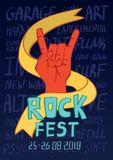Poster for rock music festival. Hand in rock n roll sign, gesture. Vector illustration. Poster for rock music festival. Hand in rock n roll sign, rock gesture Stock Photos