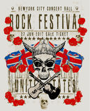 Poster for a rock music festival with skull and guitar. Fashion design new style Stock Photos