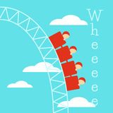 Poster with a Roller Coaster. People ride on a roller coaster and shout Wheeeee Stock Image