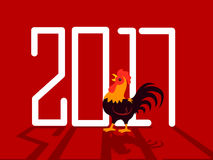2017 Poster with Rooster. Vector Illustration of 2017 Poster with Rooster Royalty Free Stock Photos