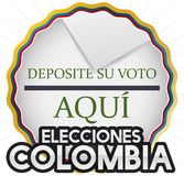 Round Button with Hole and Electoral Card for Colombian Elections, Vector Illustration. Poster with round button decorated with tricolor ribbon and hole like Royalty Free Stock Image