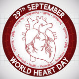 Poster with Round Button Reminder of Heart Day, Vector Illustration Royalty Free Stock Image