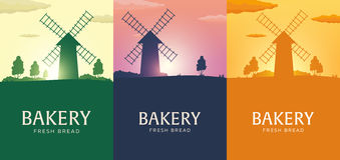 Poster Rural landscape with windmill. Sunrise. Bakery. Fresh bread. Vector illustration. Stock Image