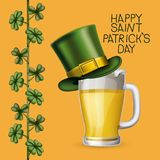 Poster saint patricks day with beer mugs with top hat and climbing plant of clovers in colorful silhouette over light. Orange background vector illustration royalty free illustration
