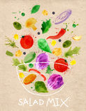 Poster salad mix craft. Poster salad mix pour into a bowl drawn in an abstract watercolor for craft stock illustration