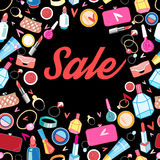 Poster sale different cosmetics. Advertising miracle poster sale different bright cosmetics Stock Images
