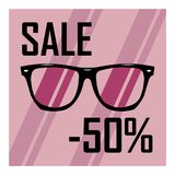 Poster for sale of glasses, 50 percent discount. Raster image of fashion glasses with 50 percent discount Royalty Free Illustration