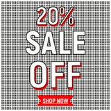 Poster sale 20 off shop now button retro 80s, 90s memphis style. Sale poster 20 off with black dots shop now Stock Image