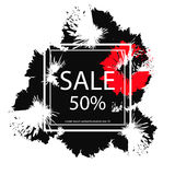 Poster for sale 50 percent. With black dots Stock Photos