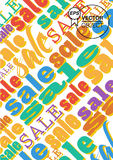 The poster for sale season. The illustration of sale words Stock Images