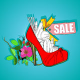Poster  the sale of women's shoes and cosmetics Stock Photos