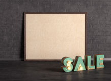 Poster with sale word on the brick wall background Stock Image