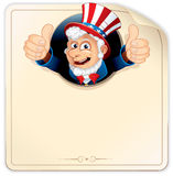 Poster with Sam. Cartoon Uncle Sam with Blank Paper Sign, vector illustration ready for your design Royalty Free Stock Photos