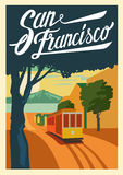 Poster San Francisco California. Vector color poster San Francisco in California Royalty Free Stock Photography
