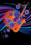 Poster with a saxophone Royalty Free Stock Photos