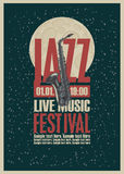 Poster with a saxophone for jazz festivals. With live music on background of the moon in star space Royalty Free Stock Photo