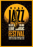Poster with a saxophone for jazz festivals. With live music on background of the moon in star space Royalty Free Stock Photos