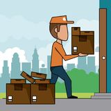 Poster scene city landscape of fast delivery man with packages at home. Vector illustration Royalty Free Stock Photography