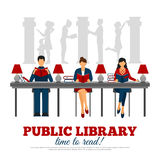 Poster Of Scene In Library Royalty Free Stock Photo