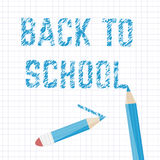 Poster school Educational back to school written on paper in a cage. Vector Stock Image