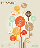 Poster with science icons in hand drawn cartoon style. Vector illustration Stock Photos