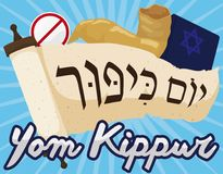 Scroll with Book, Shofar and Forbidden Pin for Yom Kippur, Vector Illustration Stock Photography