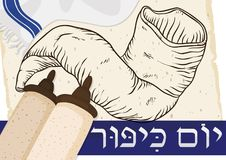 Scrolls, Tallit, Shofar and Ribbon in Hebrew for Yom Kippur, Vector Illustration. Poster with scrolls, traditional tallit with fringes, hand drawn shofar horn in Stock Image